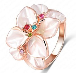 Band Paint Canada - B182 2017 Bursts of retro ring for women crystal painting oil ring Korean version of female gardenia flowers
