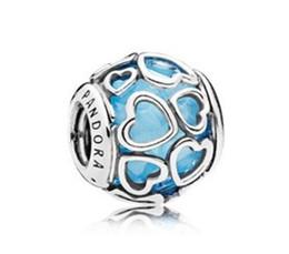 2017 cuentas de plata auténticas de verano Se adapta a pulseras pandora Cuenta de plata esterlina original 100% 925 Azul Encajonado en Love Charm 3 colores gratis