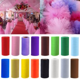tulle tutu fabric rolls 2019 - Retial 100 Yards 15 cm DIY Wedding Decoration Tulle Roll Spool Tutu Apparel Knit Fabric For Sewing Party Birthday Event