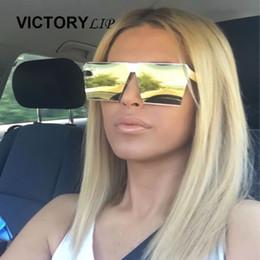 Reflective Lenses Sunglasses Designer Canada - Wholesale-Fashion Luxury 2016 Men Oversized Flat Reflective Square sunglasses Women Brand Designer Beach Metal Mirror Lens Sun Glasses