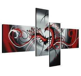 China Modern 4 Panels Artwork 100% Hand Painted Contemporary Oil Paintings on Canvas Wall Art Ready to Hang for Living Room Bedroom Home Decoratio supplier modern contemporary multi canvas abstract paintings suppliers