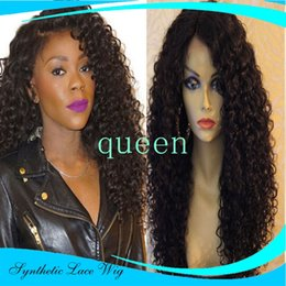 Blue White Curly Wigs Canada - Fashion Synthetic Lace Front Wig Natural kinky curly Brazilian Top Quality Wig Heat Resistant Synthetic Wigs For Black White Women