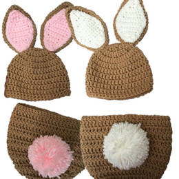 $enCountryForm.capitalKeyWord UK - Very Cute Newborn Bunny Costume,Handmade Crochet Baby Boy Girl Twins Rabbit Animal Hat and Diaper Cover Set,Toddler Easter Photography Prop