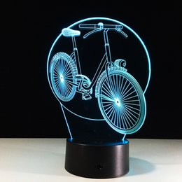 cartoon bicycle Canada - Bicycle 3D Optical Illusion Lamp Night Light DC 5V USB Charging 5th Battery Wholesale Dropshipping Free Shipping