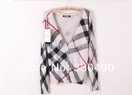 Wholesale cardigan sweater women stripes for sale - Group buy Spring women s sweater V neck shell button Plaid stripe knitted sweater ladies Cardigan sweater knitwear