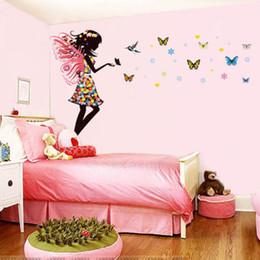 2017 Fairy Girls Nursery Wall Sticker Fairy Girl Colorful Butterflies Wall  Sticker Vinyl Mural Nursery Bedroom