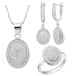 sterling silver jewelry sets Canada - Plated NEW set of 925 sterling silver set of Austria crystal egg shaped full diamond jewelry European and American goods