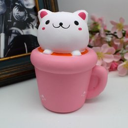 Tasses En Mousse Douce Pas Cher-Iaii Pink Cup Cat Mini Toy pour enfants Slow Rising Foam Toy Soft Squishy Hand Jouets pour enfants Gift Fun Jokes