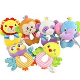 $enCountryForm.capitalKeyWord Canada - Baby Plush Toys Hang Ring Bell Soft infant Rattle Early Educational Doll lion owl monkey elephant Raccoon bear chicken