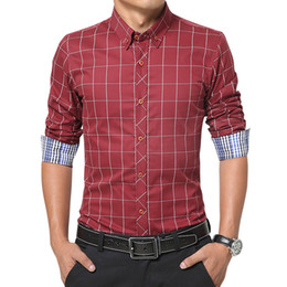 $enCountryForm.capitalKeyWord Canada - Wholesale- toturn Euro size men's long sleeve shirt business fashion shirt design shirt men cotton blue red Plaid mens shirts 699