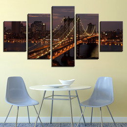 oil painting city bridge Canada - 5 Pcs Set Manhattan Bridge New York City Night Canvas Paintings Home Decor Wall Art Framed Posters HD Prints Pictures Painting