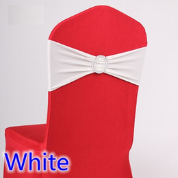 White Wedding Chairs For Sale Australia - White colour wedding chair sash spandex band with diamond buckle for chair covers lycra bow tie spandex sash ribbon on sale