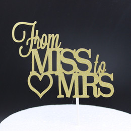 Décorations De Mariage Brillantes Pas Cher-Wholesale-Shiny Gold From Miss to Mrs. Cake Topper pour Wedding Party Cake Decoration Supplies