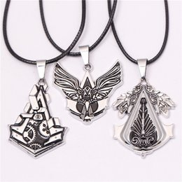 american gears Canada - Fashion Assassin's Creed Game Gear Necklaces & Pendants Silver Plated Leather Alloy Cosplay Necklace Jewelry For Men