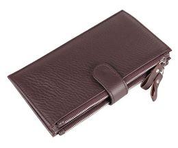 $enCountryForm.capitalKeyWord Canada - Hot Brand Genuine Leather Wallet Mens Wallets Long Wallet Men Purses for Card Holder Clutch Wallet Bags Double Zipper Brown Black Purses