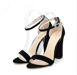 646abd737ecd2b Newest Women Pumps Open Toe Sexy Ankle Straps High Heels Shoes Summer Ladies  Bridal Suede Thick Heel Sandals Free Shipping