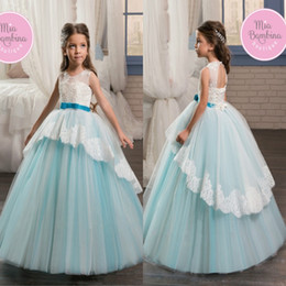 Fêtes De Fête Filles Filles Pas Cher-2017 Newly Princess Ball Gown Flower Girl Robes Sheer Jewel Neck Appliques Open Back Avec Sash Long Tulle Kids Birthday Formal Party Gown