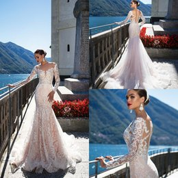 $enCountryForm.capitalKeyWord Canada - New Vintage Sheer Neck Lace Mermaid Wedding Dresses 2017 Long Sleevs Covered Button Back Tulle Appliques Wedding Bridal Gowns