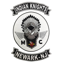 Bikers Back Patches Australia - HOT SALE COOLEST INDIAN KNIGHTS MC BACK EMBROIDERY PATCH MOTORCYCLE CLUB VEST OUTLAW BIKER MC COLORS PATCH FREE SHIPPING