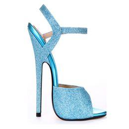 $enCountryForm.capitalKeyWord Canada - New Fashion Summer Extreme High Heel 16cm PU Sexy Peep Toe High Heel BUCKLE STRAP Sex WOMEN SANDALS Sky Metal Heel Size 35-46