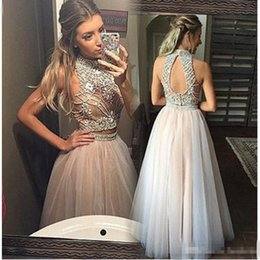Barato Vestido Elegante Mini Luxo-Elegant Champagne Two Pieces Prom Dresses 2017 Luxo Beading Tulle Backelss Evening Gowns para mulheres Graduation Pageant Party Gowns
