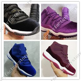 Barato Tecido De Veludo À Venda-2017 Novo NOVO Retro 11 GS Black Velvet Heiress Men Women Basketball Shoes Novo Maroon Blue Sapphire Purple Metallic Gold Sneakers Para Venda