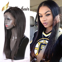 full human lace wigs silky 2019 - 130% Density Middle Part Silky Straight Full Lace Wigs For Black Women 100% Unprocessed Indian Human Hair Front Lace Wig