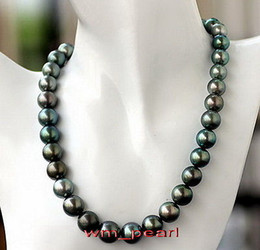 "Discount peacock green jewelry - Fine Pearls Jewelry 18""9-10mm REAL round Peacock blue green pearl necklace 14k"