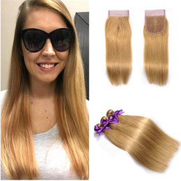 striaght hair UK - 27 Color Straight Human Hair 10-30Inch Malaysian Virgin Hair Bundles With Lace Closure Honey Blonde Striaght 4*4 Top Closure With Bundles