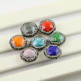 $enCountryForm.capitalKeyWord NZ - DIY 10Pcs Mixed Color Druzy Faceted Stone Pave Rhinestone Connector Spacer Beads Jewelry Finding
