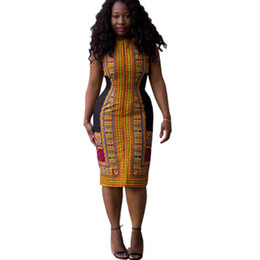 african summer traditional dresses Canada - Women Summer Bodycon Dress Casual Ladies Sexy African Dresses Dashiki Traditional Print Mini Womens Beach Dres