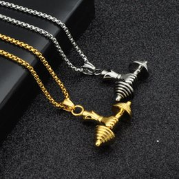 $enCountryForm.capitalKeyWord NZ - Men's stainless steel dumbbell pendant necklaces black men jewelry necklace fashion gifts fitness barbell jewellery colar