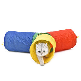 Wholesale Hot Pet Toys For Cat Tunnel Colorful Style Pet Supplies Holes More Fun Rabbit Kitten Tunnel Stitching Colors Puppy Dogs