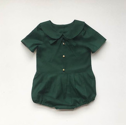 Barato Bodysuits Da Luva Dos Miúdos-Retail Summer Toddler Girls Bodys Clothing Vestuário Peter Pan Collar Short Sleeve Moda Baby Overalls Roupa infantil 0-3T E1631