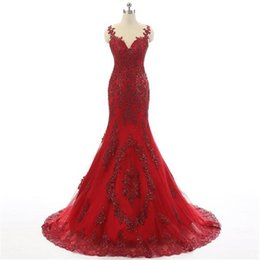 $enCountryForm.capitalKeyWord UK - Red Plus Size Long Formal Gowns for Women Prom Gowns Sexy Evening Dresses Mermaid Sheer Neck With Two Straps Lace Applique Party