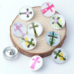 Glass Snap Button Charms NZ - 20PCS Cross Glass Snap Button For 18MM DIY Snap Button Charms Bracelet Necklace Jewelry