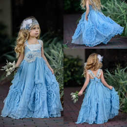 Robe De Dentelle De Fille De Fleur Bleue Pas Cher-Cheap Ligh Blue Flower Girl Dresses 2017 Lace Appliqued Boho Wedding Vintage Beach Little Baby Gowns pour la Communion