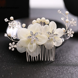 Diamond Ball Hair Canada - New Arrival 2017 Wedding Hair Combs Tiara Diamond Silk Flower Pearl Combs Wedding Hair Accessories Bridal Hair Clip Headdress Bride Headband