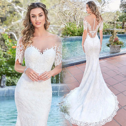 Discount lace cover up wedding dresses sleeves 2018 lace cover appliques lace bohemian beach wedding dresses 2017 sheer scoop short sleeve zipper up court train vestidos de novia lace cover up wedding dresses sleeves junglespirit Image collections