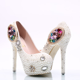 floral bridal shoes Canada - Wholesale Colorful Gem Cinderella Shoes Prom Evening High Heels Beading Rhinestones Bridal Bridesmaid Hand-made Wedding Shoes