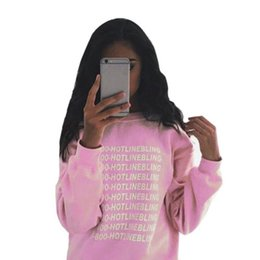 Sweat-shirts En Gros Femme Rose Pas Cher-Vente en gros- Automne Mode Femmes Rose Fleeced Thick Warm Hoodies Pullovers 800 Hotline Bling Winter Sweatshirts Nouveau