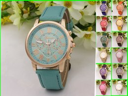 geneva gold watch 2018 - Hot Sale Fashion Colorful Lady Geneva Leather Silicone Watch Women Men Teens Girl Watches Casual Sport Brand Wristwatche