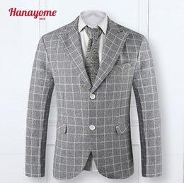 Barato Blazers Cinza Casual Para Homens-Atacado- 2016 Custom Slim Fit Light Grey Dress Plaid Casual Blazers Notch Lapel Groom Tuxedos Shawl Collar Homens Ternos Man Suit Jacket SI9