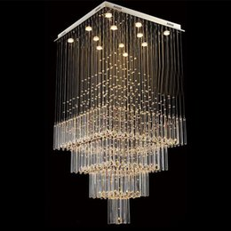 $enCountryForm.capitalKeyWord NZ - Modern K9 Crystal Chandelier Light Square LED Pendant Lamp Luxurious Fashion Stairs Lamp Living Room Lighting LED Ceiling Light Fixtures