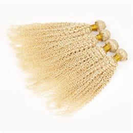 Virgin Deep Curly Brazilian Hair UK - Brazilian Blonde Virgin Hair Deep Curly 3Pcs Platinum Blonde Curly Hair Weft 613 Gold Blonde Human Hair Weave