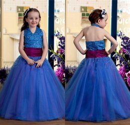 Little Girls Formal Party Dresses Canada - Royal Blue Ball Gown Little Girls Pageant Dresses 2017 Halter Beaded Bodice Tulle Skirt Princess Girls Formal Party Gowns Celebrity Gowns