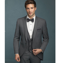 Barato Colete Terno Cinza Escuro-Atacado - Ternos masculinos elegantes New Custom Made Dark Grey Men Suits Slim Fit Groom Tuxedos Jacket + Pants + Vest