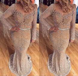 Robes De Soirée De Luxe Manches Pas Cher-Luxury 2017 Mermaid Prom Robes Long Sleeve Beaded Cristaux Tassel Robe de soirée Sweep Length Sheer Tulle Evening Gowns