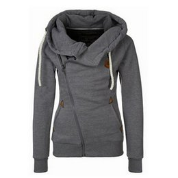 Sweat À Capuche Oblique Pas Cher-Mode Automne Femmes Filles Solide Couleur Sweat à capuche Pocket Sweat Casual À manches longues Front Oblique Zipper Pull en coton Hiver