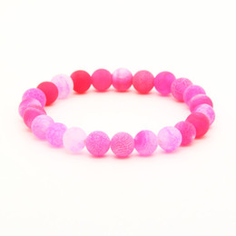 Discount elastic beaded bracelets wholesale - Wholesale 10pcs lot Mix Colors 8mm Good Quality Blue, Red, Green Weathering Dragon Veins Stone Beads Energy Elastic Brac